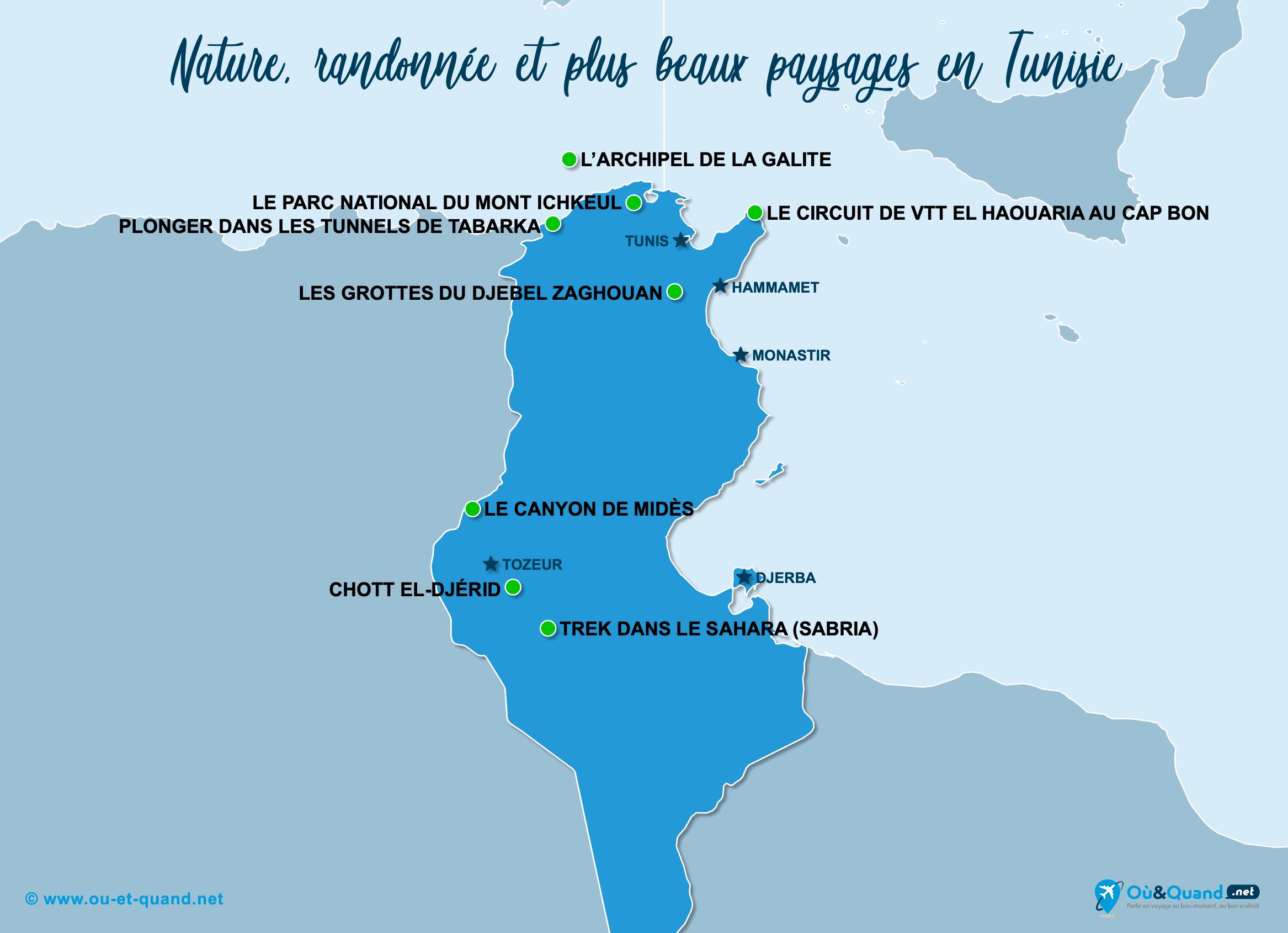 Carte Tunisie : Les plus beaux paysages de la Tunisie