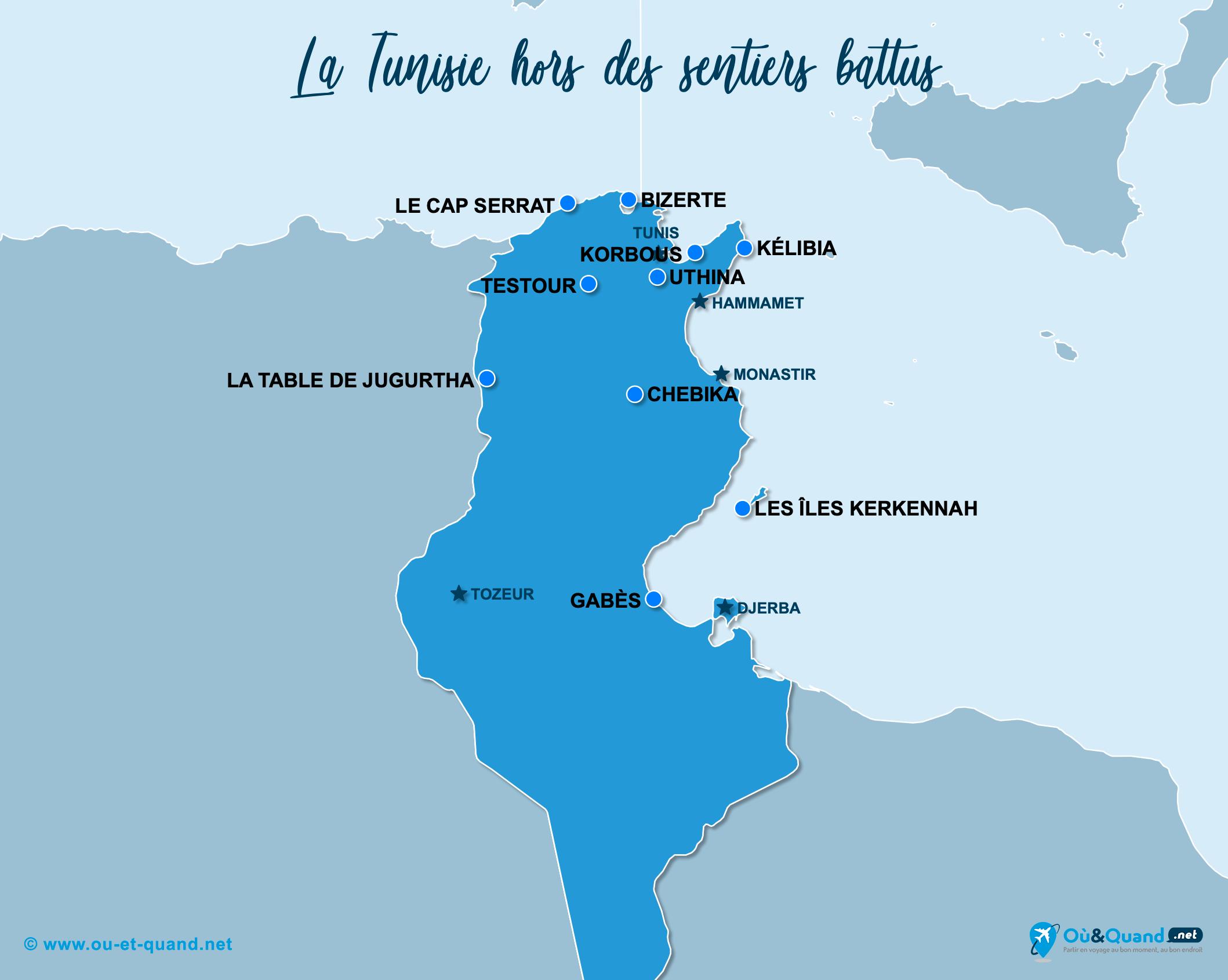 Carte Tunisie : La Tunisie hors des sentiers battus