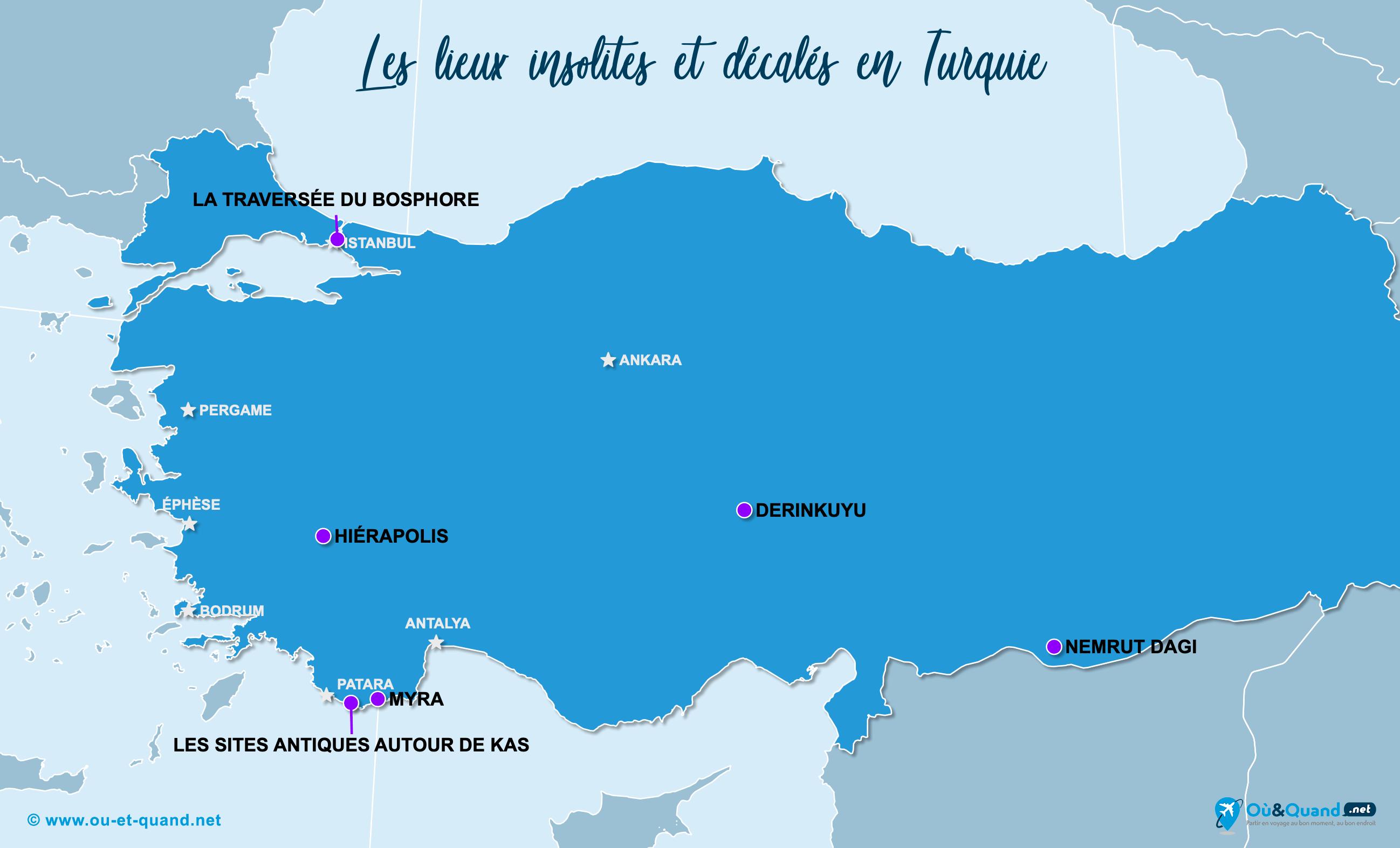 Carte Turquie : La Turquie insolite