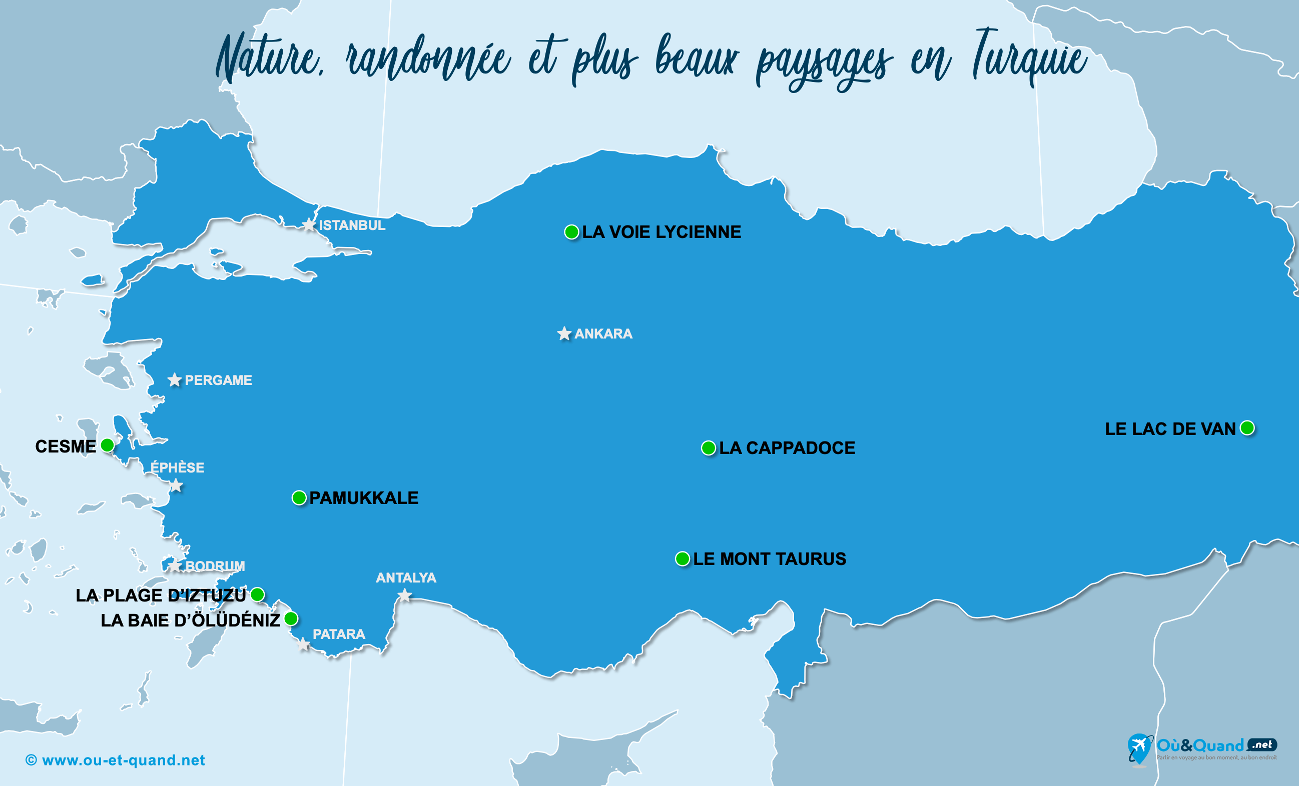 Carte Turquie : Les plus beaux paysages de la Turquie