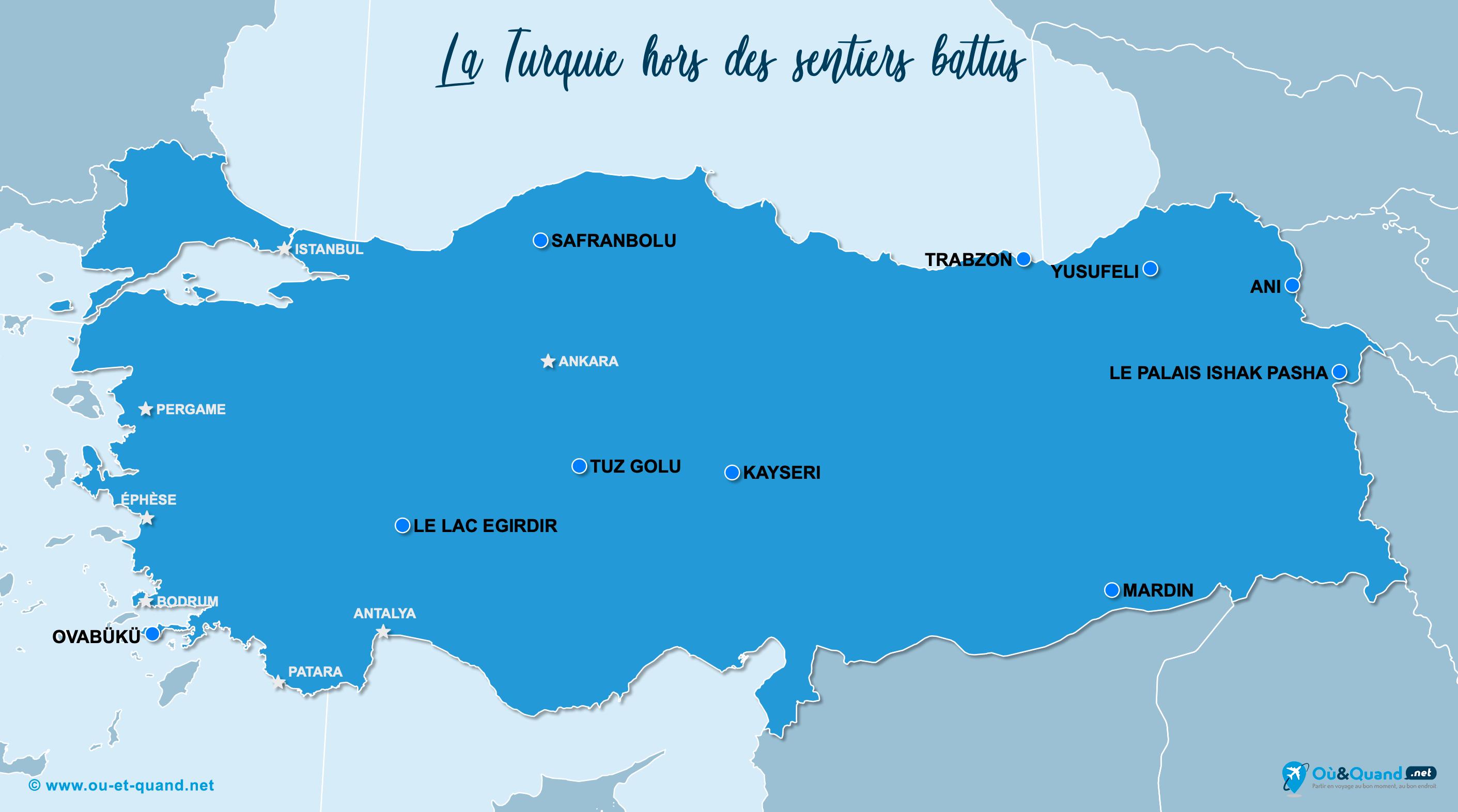 Carte Turquie : La Turquie hors des sentiers battus