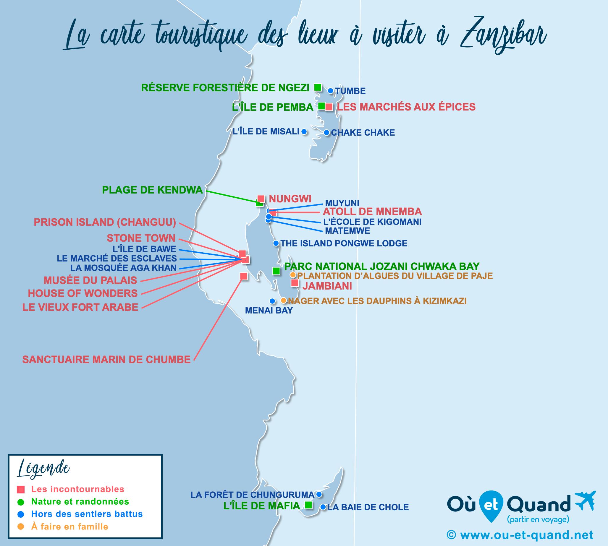 Carte Zanzibar : tous les lieux à visiter lors de votre voyage