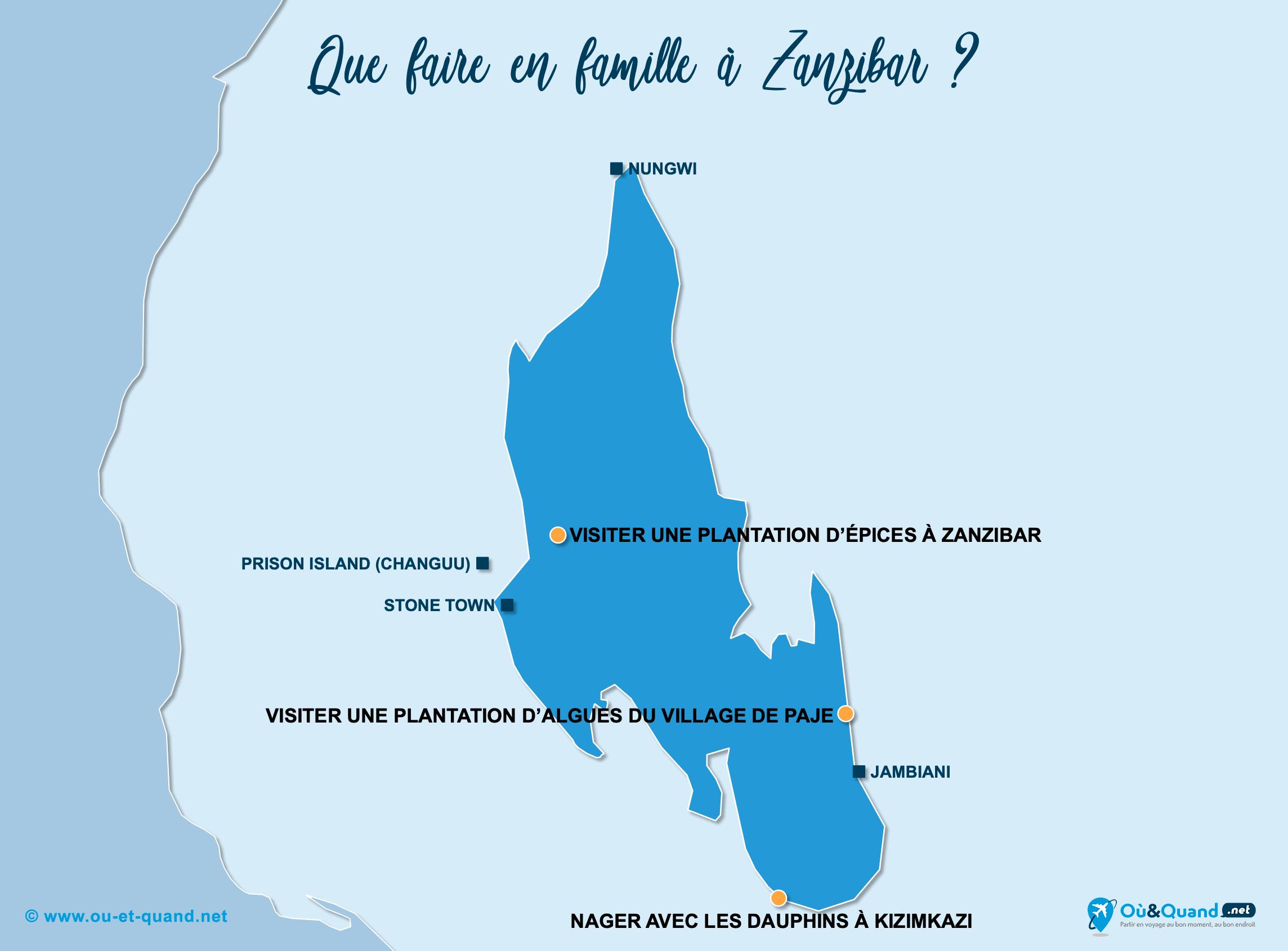 Carte Zanzibar : Zanzibar en famille