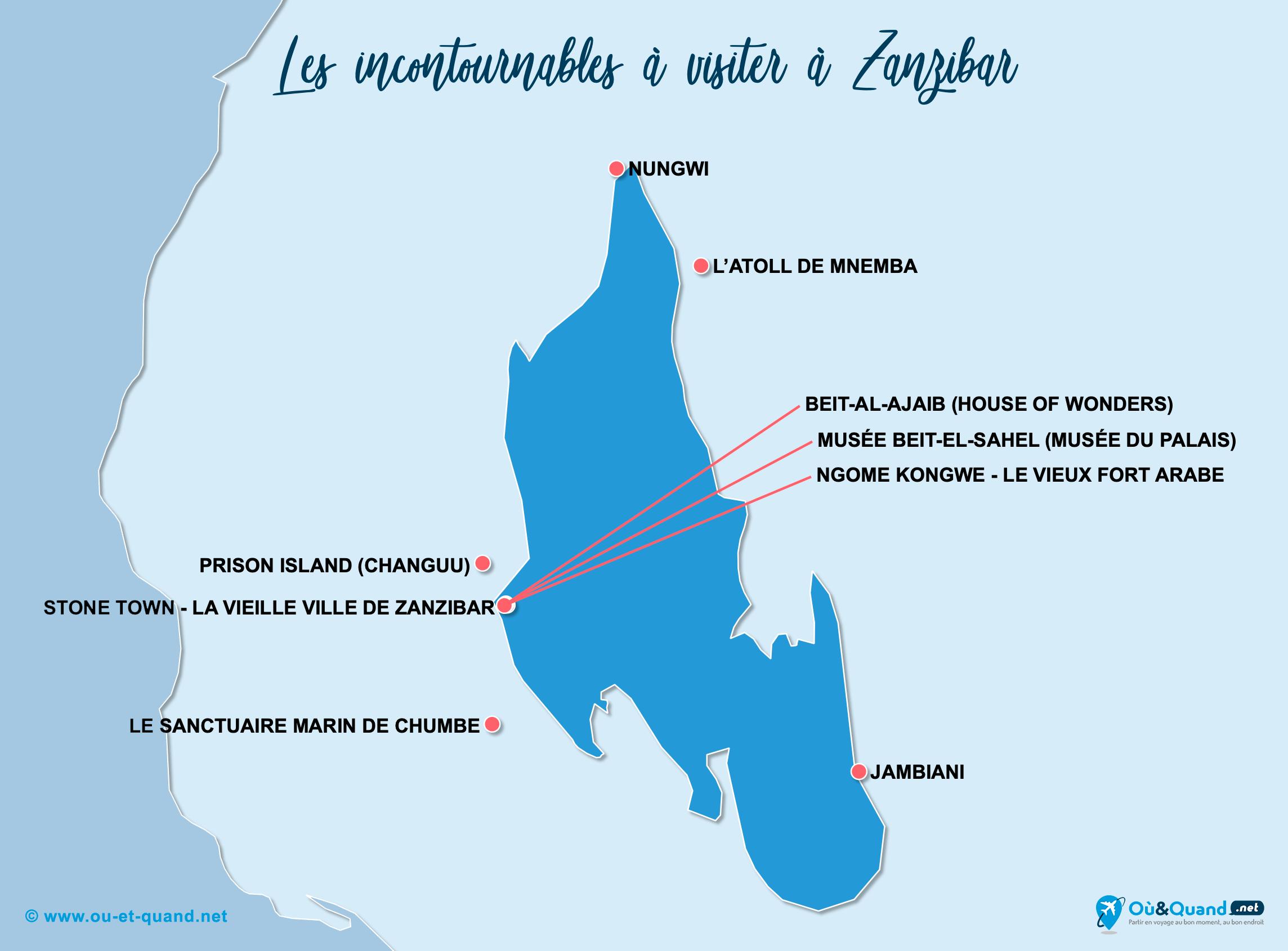 Carte Zanzibar : Les lieux incontournables à Zanzibar