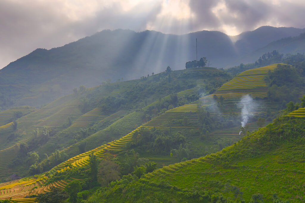 Sapa (nord du Vietnam) : Ray over terrace rice field in Sapa - Trung Chải.