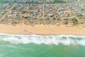 Bénin : Vue aérienne du littoral de Cotonou
