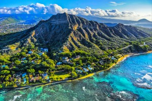 Hawai : Diamond Head sur l'île d'Oahu