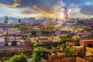 Marrakech : Vue panoramique sur la vieille medina de Marrakech