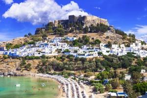 Rhodes : L'acropole de Lindos (Líndos) sur l'île de Rhodes