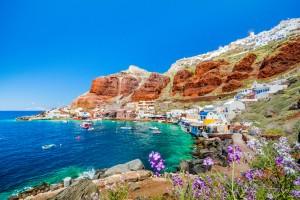 Santorin : Le vieux port d'Ammoudi sous le célèbre village d'Ia à Santorin