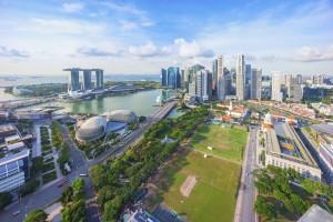 Singapour : Vue aérienne sur Marina Bay à Singapour