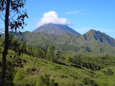 Timor occidental : Volcanic cone hidden in cloud near Bajawa island of Flores West Timor Indonesia.