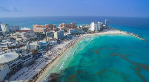 Cancún : Cancun beach aerial - Luftbild