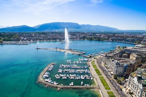 Vue aérienne sur le lac Léman, Genève