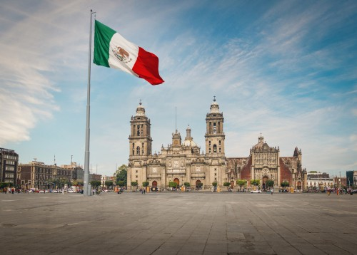 Mexique : Place Zocalo et la cathédrale de Mexico City