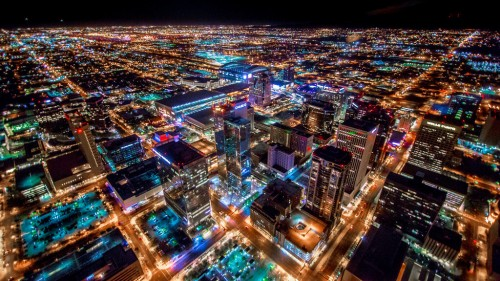 Phoenix (Arizona) : Phoenix Arizona Downtown Night Aerial Photo from Helicopter