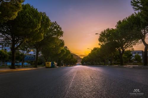 Trapani : Sunrise at street in Trapani, Sicily (Italy)
