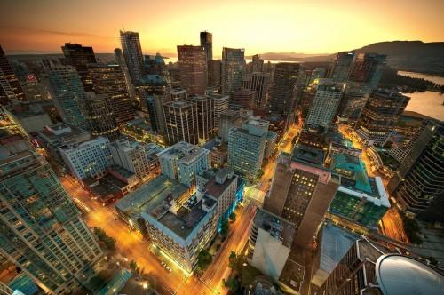 Vancouver (Colombie Britannique) : Downtown Vancouver Sunset