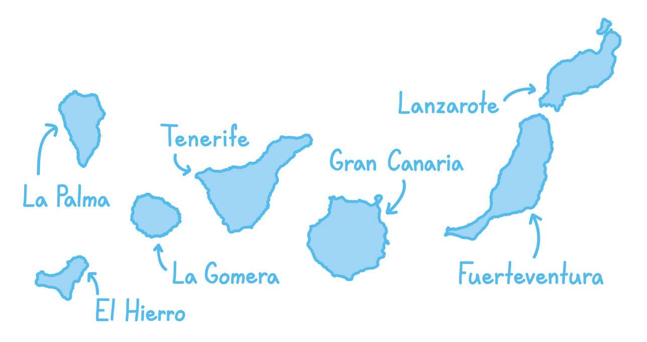 Carte des îles des Canaries