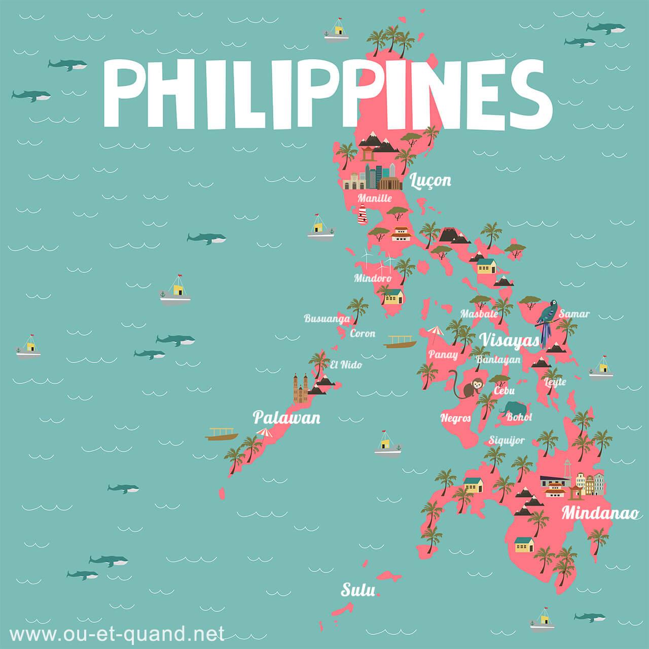 Carte des îles des philippines