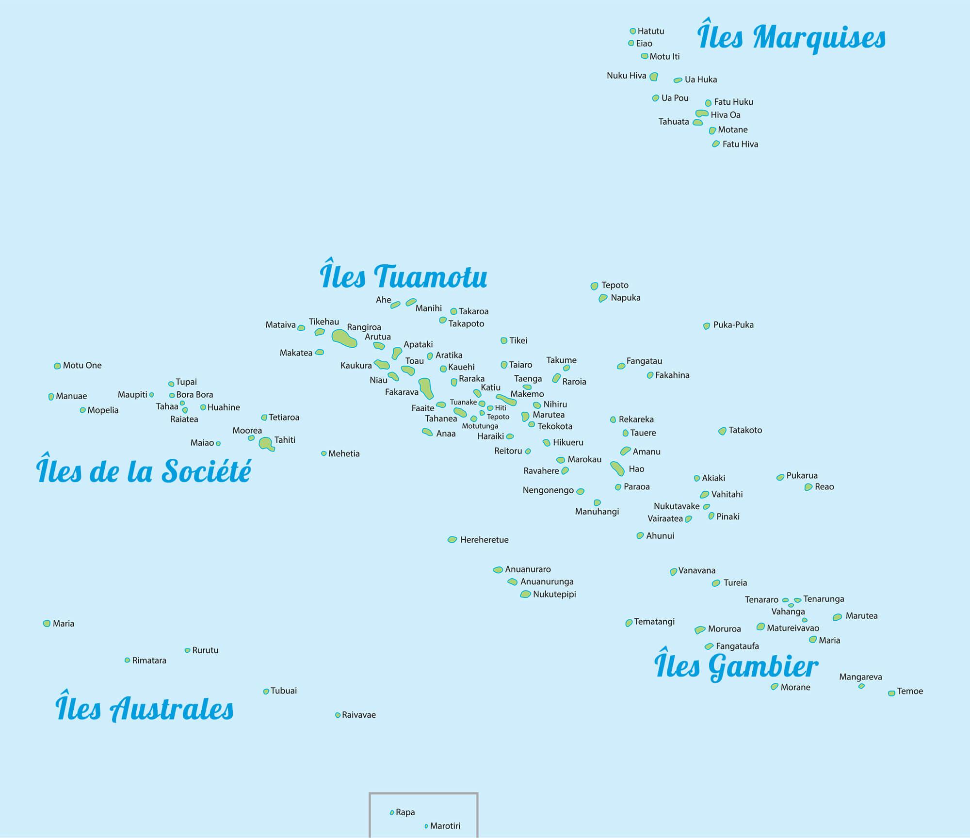 Carte des îles de Tahiti et des îles de la société